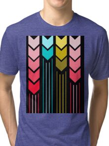 Modern Colorful Arrows Lines Pattern On Black Tri-blend T-Shirt