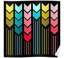 Modern Colorful Arrows Lines Pattern On Black Poster