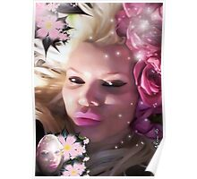 Pink Rose Lady Poster