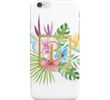Tropical Floral With Gold Initial B iPhone Case/Skin