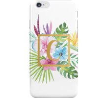 Tropical Floral With Gold Initial C iPhone Case/Skin