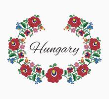 Kalocsai Wreath - Hungary (Black Text) One Piece - Short Sleeve