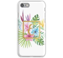 Tropical Floral With Gold Initial E iPhone Case/Skin