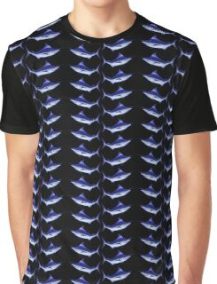Blue Marlin Tiled Pattern Graphic T-Shirt