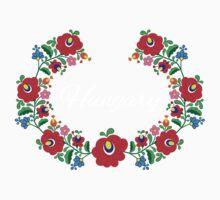Kalocsai Wreath - Hungary (White Text) Kids Tee