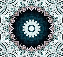 Blue Green Buildings Mandala by Phil Perkins
