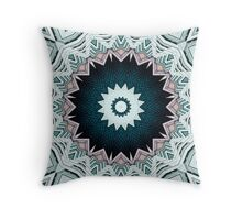 Blue Green Buildings Mandala Throw Pillow