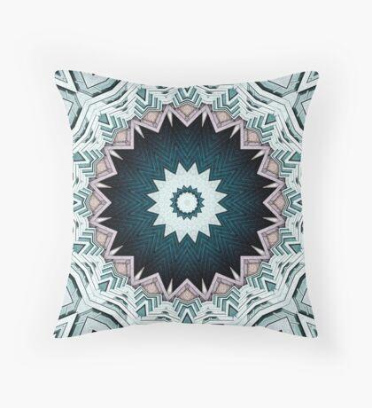 Blue Green Buildings Mandala Throw Pillow