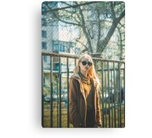 Portrait of Young Hipster Woman Canvas Print