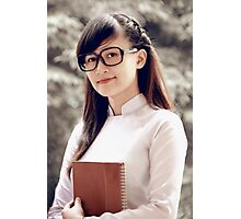 Asian student wears glasses Photographic Print