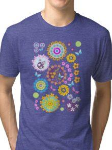 Flower circles and cute Butterflies Tri-blend T-Shirt