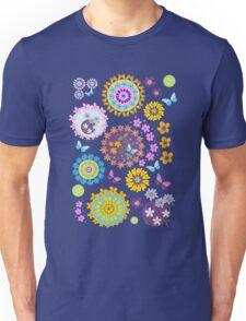 Flower circles and cute Butterflies Unisex T-Shirt
