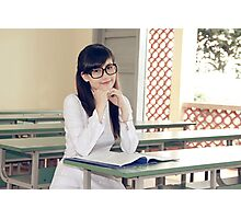 Asian student sitting in class Photographic Print