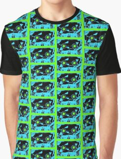 Blue Retro Cassette Tape on Bright Green  80 1980 1980's 1980s Music Graphic T-Shirt