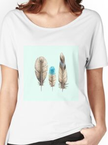 Watercolor Feathers mint green dos Women's Relaxed Fit T-Shirt