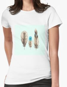 Watercolor Feathers mint green dos Womens Fitted T-Shirt