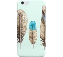 Watercolor Feathers mint green dos iPhone Case/Skin