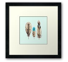 Watercolor Feathers mint green dos Framed Print