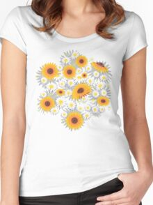 Sunflower Daisy Flower T-shirt Women's Fitted Scoop T-Shirt