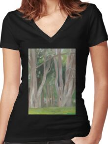 Vermont, shady trees Women's Fitted V-Neck T-Shirt