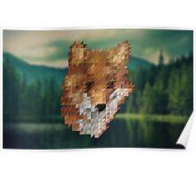 small fox triangular pixels Poster