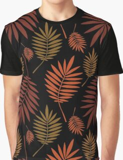 Palm multicolored leaves on black background. Graphic T-Shirt