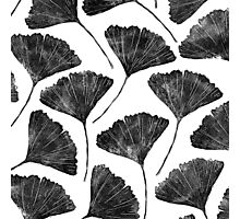 Ginkgo biloba, Lino cut nature inspired leaf pattern Photographic Print