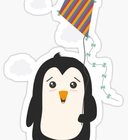 Penguin with Kite Sticker
