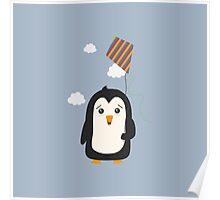 Penguin with Kite Poster