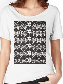Black And White Decorative Floral Pattern Women's Relaxed Fit T-Shirt