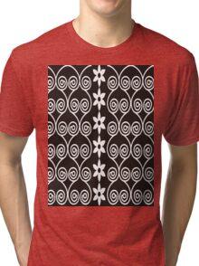 Black And White Decorative Floral Pattern Tri-blend T-Shirt