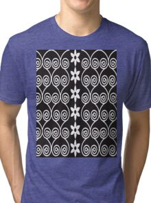 Black And White Decorative Floral Pattern Tri-blend T-Shirt