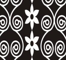 Black And White Decorative Floral Pattern Sticker