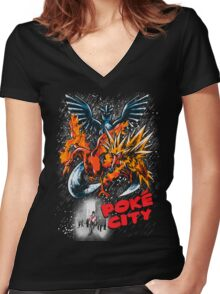 Poke City Women's Fitted V-Neck T-Shirt