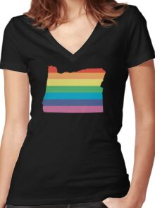rainbow oregon Women's Fitted V-Neck T-Shirt