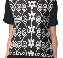 Black And White Decorative Floral Pattern Chiffon Top
