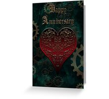 Owl Filigree Steampunk Fairytale Anniversary Card ~ Zombie Apocalypse Green Version Greeting Card