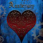 Owl Filigree Steampunk Fairytale Anniversary Card ~ Royal Blue Version by Sam Stormborn Ormandy