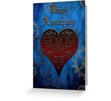 Owl Filigree Steampunk Fairytale Anniversary Card ~ Royal Blue Version Greeting Card