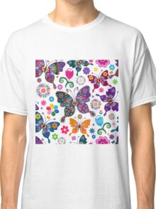Colorful Retro Butterfly's And Flowers Pattern Classic T-Shirt
