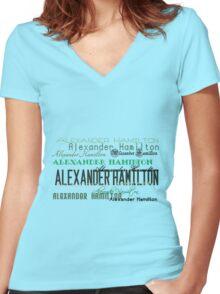 Alexander Hamilton Font Women's Fitted V-Neck T-Shirt