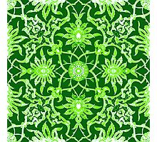Art Nouveau Chinese Tile, Lime Green Photographic Print