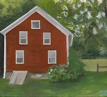 Vermont, red house by Barbara Weir