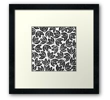 Lino cut printed pattern, nature inspired, handmade, black and white Framed Print