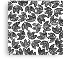 Lino cut printed pattern, nature inspired, handmade, black and white Canvas Print