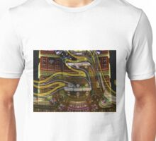 The Future Hasn't Arrived: Double Ellipse Gold and Silver Distort Unisex T-Shirt