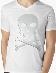 Skull with bones. Mens V-Neck T-Shirt