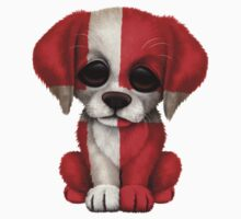 Cute Patriotic Danish Flag Puppy Dog One Piece - Long Sleeve