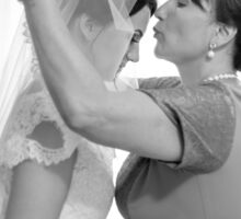 Mother of the Bride kiss her before the wedding Sticker
