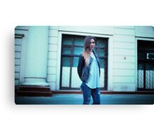 young girl with long hair in sunglasses in a black t-shirt Canvas Print